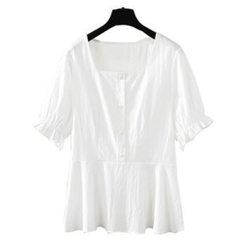 百旅女式上衣夏装圆领短袖大码宽松薄款衣服