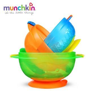美国munchkin满趣健吸盘碗3只装吸盘防摔硅胶耳朵防烫