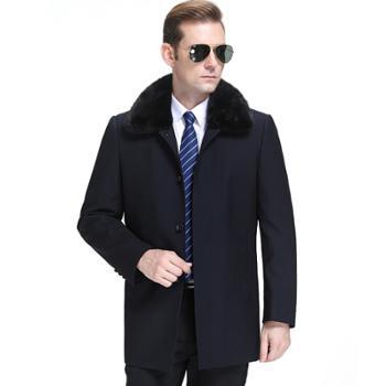 寻爵羊毛大衣黄金貂内胆中长款水貂毛领羊绒呢