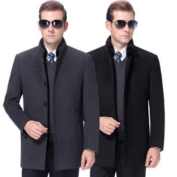 寻爵大衣羊绒水貂领加厚中长款
