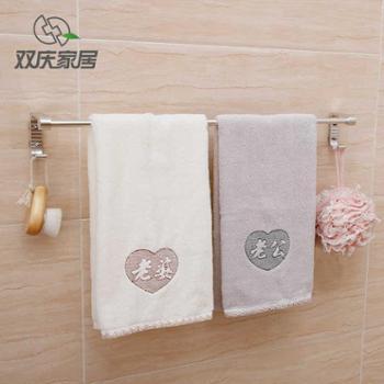 双庆强力吸盘毛巾架太空铝单杆浴室免打孔防锈壁挂式卫浴毛巾挂架