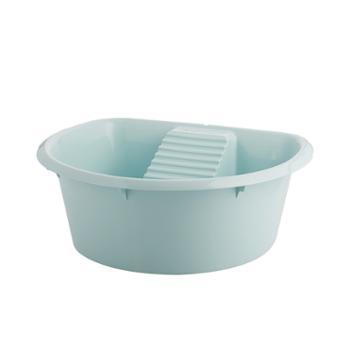 茶花塑料家用一体式洗衣盆带搓板