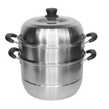 欧锐铂 家用蒸锅304不锈钢三层2层加厚大容量蒸笼燃气灶电磁炉通用