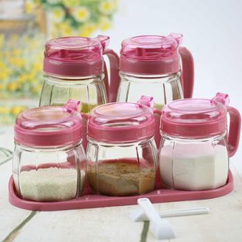 艾格莱雅 玻璃调味瓶调味罐套装礼盒调料罐厨房用品调料盒五件套