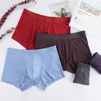 80支莫代尔无痕男士内裤一片式随性裁平角裤品质四角裤头 单条装 帝-6011