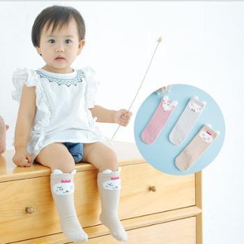 【3双装】宝宝袜子秋冬高筒童袜 新生婴儿袜子0-3岁长筒袜可爱卡通儿童袜子