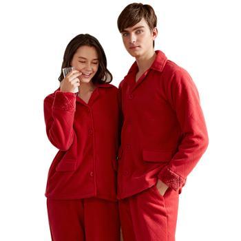 情侣冬加厚双层复合法兰绒长袖棉衣 男女士可外穿格子贝贝绒睡衣家居服套
