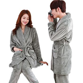 贵绣情侣法兰绒睡衣男女秋冬季加厚睡袍连裤套装家居服 G-1764和1724