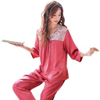 女七分袖长裤冰丝睡衣女套装加肥加大码薄款丝绸睡衣