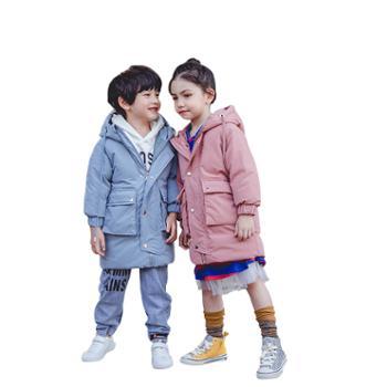 冬季中长款羽绒服中大童韩版加厚连帽羽绒服