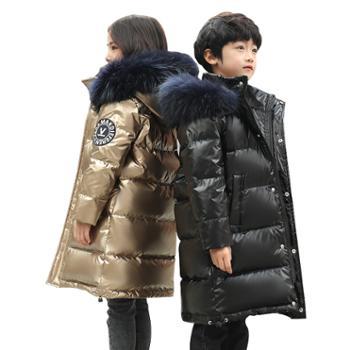 儿童羽绒服中长款冬季男女童大毛领童装亲子外套8857