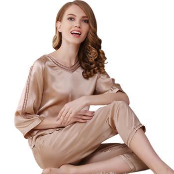 女士短袖真丝睡衣两件套装桑蚕丝家居服 T7702