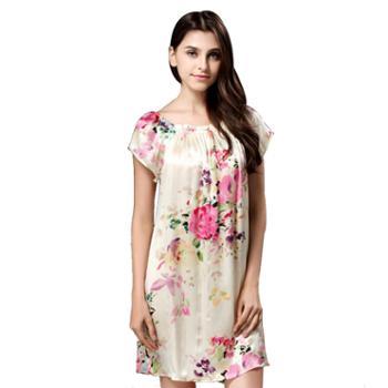 女士夏季真丝睡衣桑蚕丝短袖大码睡裙连衣裙 S209