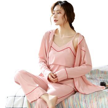纯棉春秋季产前产后三件套可外穿全棉孕妇睡衣哺乳衣套装 苏-7523