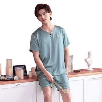 男士夏天冰丝睡衣短袖短裤V领简约薄款时尚丝绸纯色家居服套装