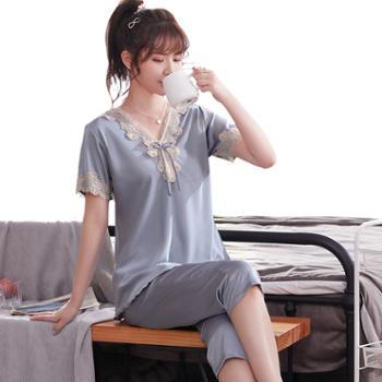 夏天女士冰丝睡衣短袖七分裤两件套大码丝绸套装家居服
