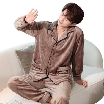 贵绣 男士秋冬季珊瑚绒加大码加厚保暖法兰绒 睡衣