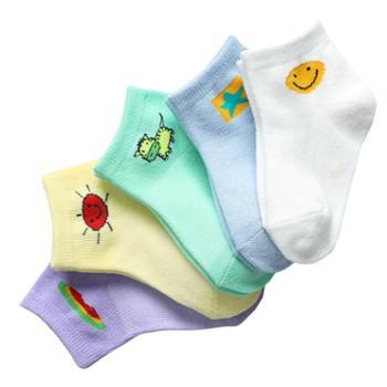 家羚 5双装儿童袜子透气薄款 男女童短袜