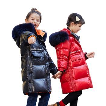 家羚 儿童羽绒服女童中长款加厚童装 白鸭绒外套9859