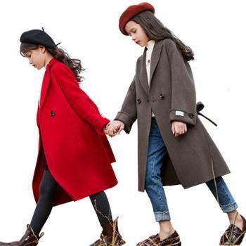 家羚女童双面呢大衣儿童毛呢外套