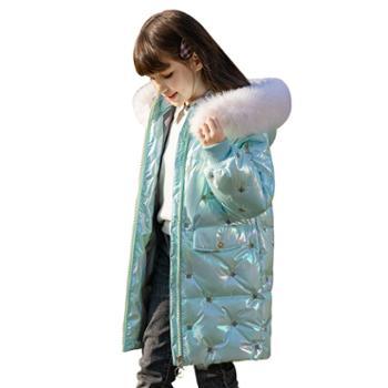 家羚 女童羽绒服中长款白鸭绒大毛领 儿童外套