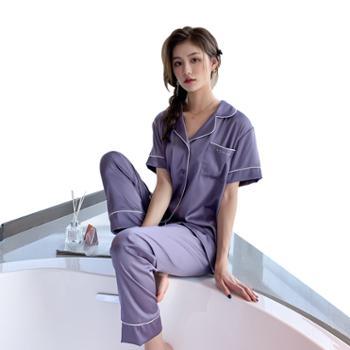 贵绣 女士春夏丝绸短袖长裤睡衣家居服 两件套可外穿
