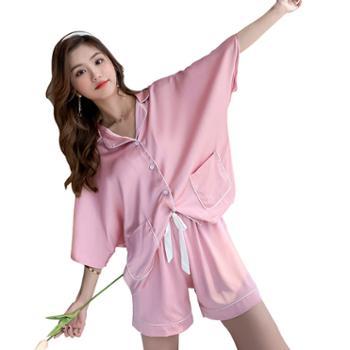 贵绣 韩版女士宽松短袖短裤睡衣 双口袋丝绸家居服