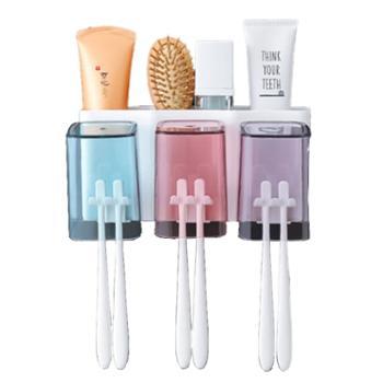 卉居吸壁式免打孔牙刷漱口杯置物架-三口牙刷架