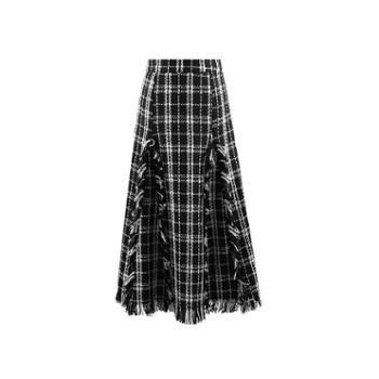ELSYALN新款中长款格子呢长裙百褶裙名媛高腰半身裙