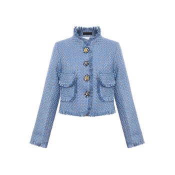 ELSYALN春季新款蓝色百搭潮流法式名媛气质短款外套