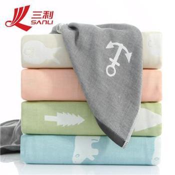 三利厂家纯棉提花成人纱布毯新款毛巾被双规格花色多