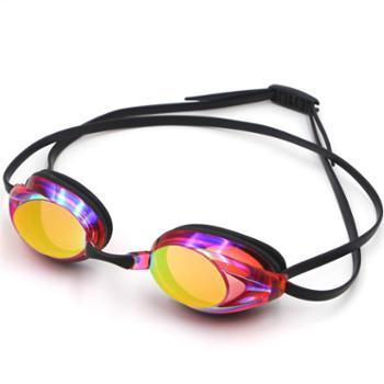 GRiLong泳镜比赛炫彩训练专业装备硅胶紫色高清防雾电镀泳镜MC-900