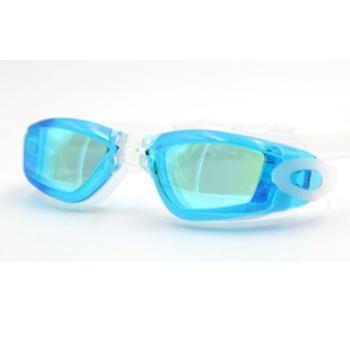 GRiLong 泳镜电镀高清防雾硅胶平光游泳镜大框成人防水泳镜A-3801