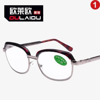 oulaiou/欧莱欧老花镜时尚玻璃片经典款中老年人老花眼镜8909