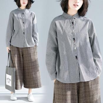 新款韩版舒适大码格子衬衣娃娃领文艺小清新休闲格子衬衫