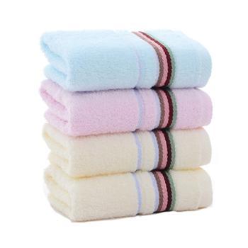 洁丽雅 素色4条装大毛巾 纯棉柔软吸水加厚 72*33 79g