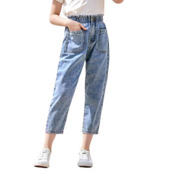 馨霓雅女大童春夏休闲九分裤牛仔裤JF20216