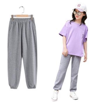 馨霓雅女大童薄棉收口防蚊运动裤JF2110