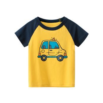 馨霓雅男童夏款小汽车薄款短袖T恤9708