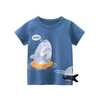 馨霓雅男童夏款鲨鱼短袖T恤9716薄款