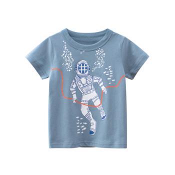 馨霓雅男童夏款太空人短袖T恤9729薄款