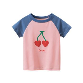 馨霓雅女童夏款樱桃短袖T恤HT9300薄款