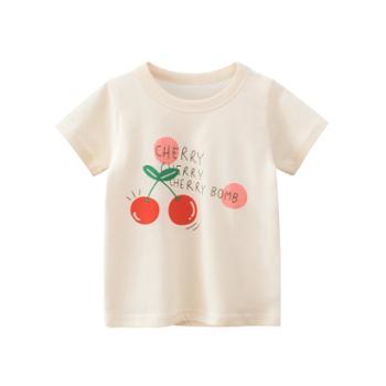 馨霓雅女童夏款樱桃短袖T恤HT9338薄款