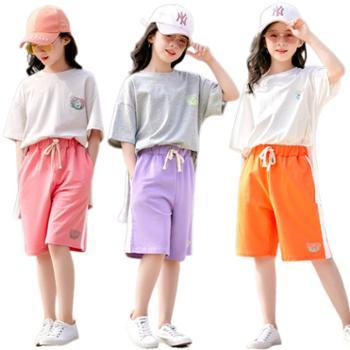 馨霓雅女大童夏季短裤T恤运动休闲两件套JF2119