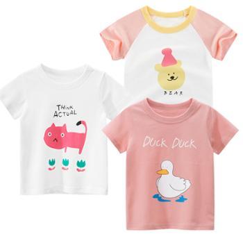 馨霓雅女童夏季棉质卡通短袖T恤3件装薄款