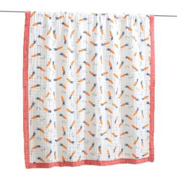 棉小宝120*150CM全棉六层纱布水洗夏凉被婴儿褶皱泡泡棉浴巾 幼儿园被子