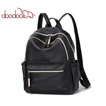 doodoo双肩包女韩版百搭学院风书包女大容量旅行背包女包W9108