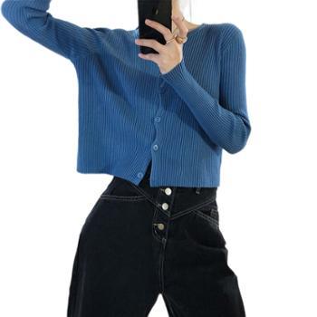 鹿西短款针织开衫女长袖外搭薄款毛衣外套ss99
