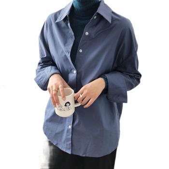鹿西简约基础款百搭宽松净版衬衣长袖白色衬衫女
