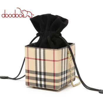 doodoo包包女士小众迷你盒子包水桶包斜挎链条包D9705